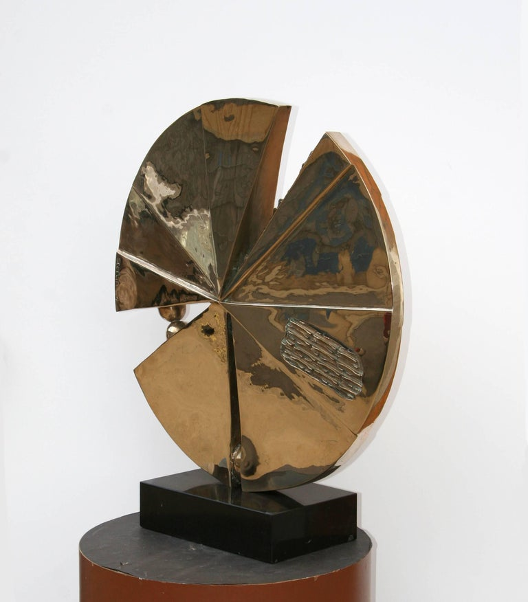 Artist: Stefan Vladescu, Romanian/American (1952 - )  Title: Epiphany Year: 1994  Medium: Bronze Sculpture, signature and date inscribed  Size: 25 inch diameter x 1.5 wide Base 3 x 8 x 12 inches