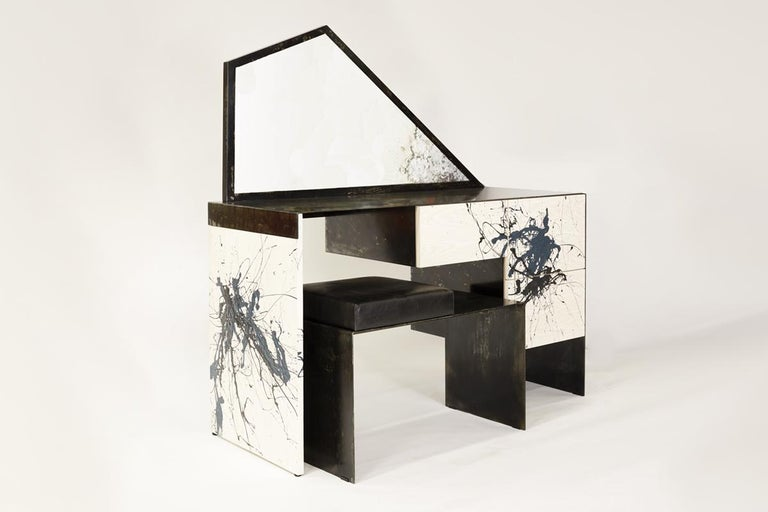 Patinated Stefan Rurak, Trapezoid Mirror Desk / Vanity, USA For Sale