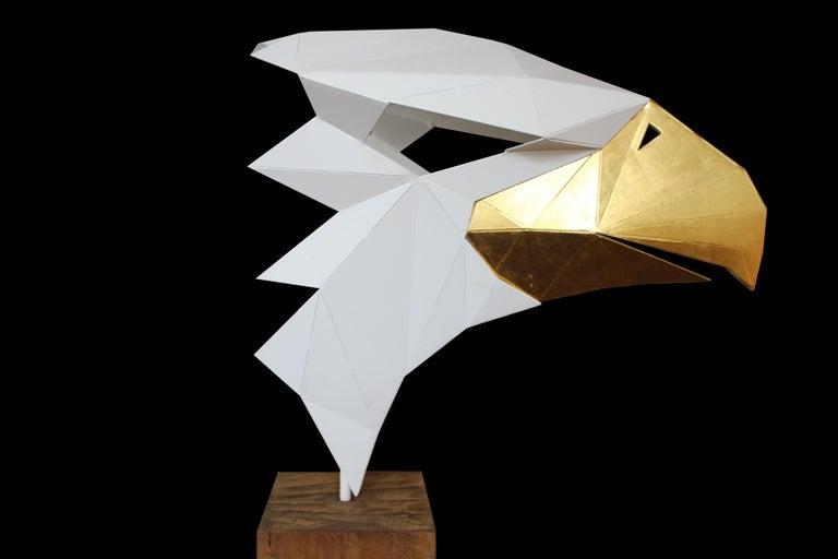 24 Karat Gold Leaf - Golden Eagle - Oak Pedestal - Limited Edition - Abstract Geometric Sculpture by Stefan Traloc
