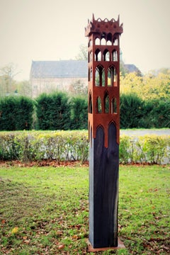 "Outdoor bird house - ""Tower House"" on a quadratic oxidised oak pedestal"