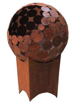"""Outdoor Firepit - """"Globe"""" with angled pedestal - small"""