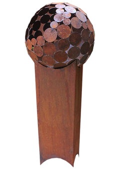 """Firepit """"Globe"""" With Angled Pedestal - Tall"""