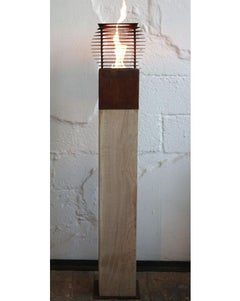 """Garden Torch - """"Cube"""" on a oak column - handmade outdoor ornament - set of six"""