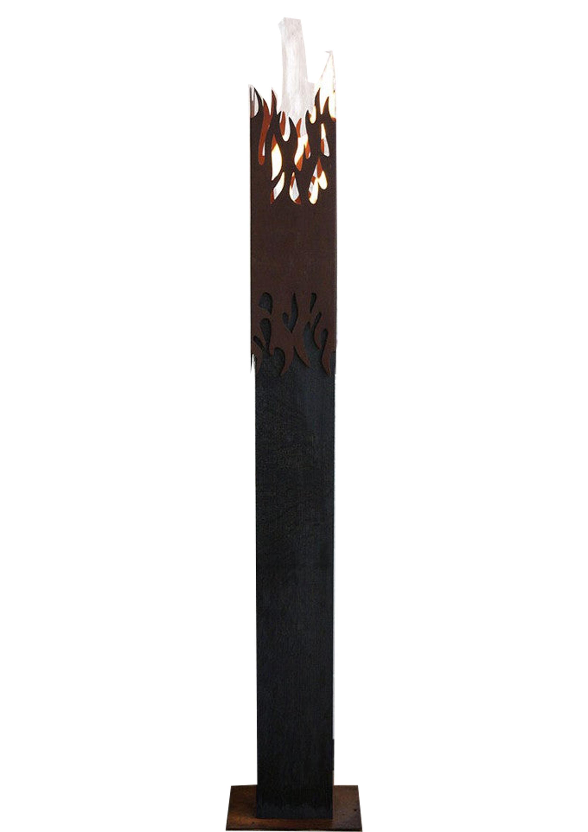 "Garden Torch - ""Flame"" on a dark oak pedestal - unique handmade ornament"