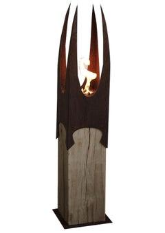 "Garden Torch - ""Nature Crown"" on a oak pedestal - unique handmade ornament"