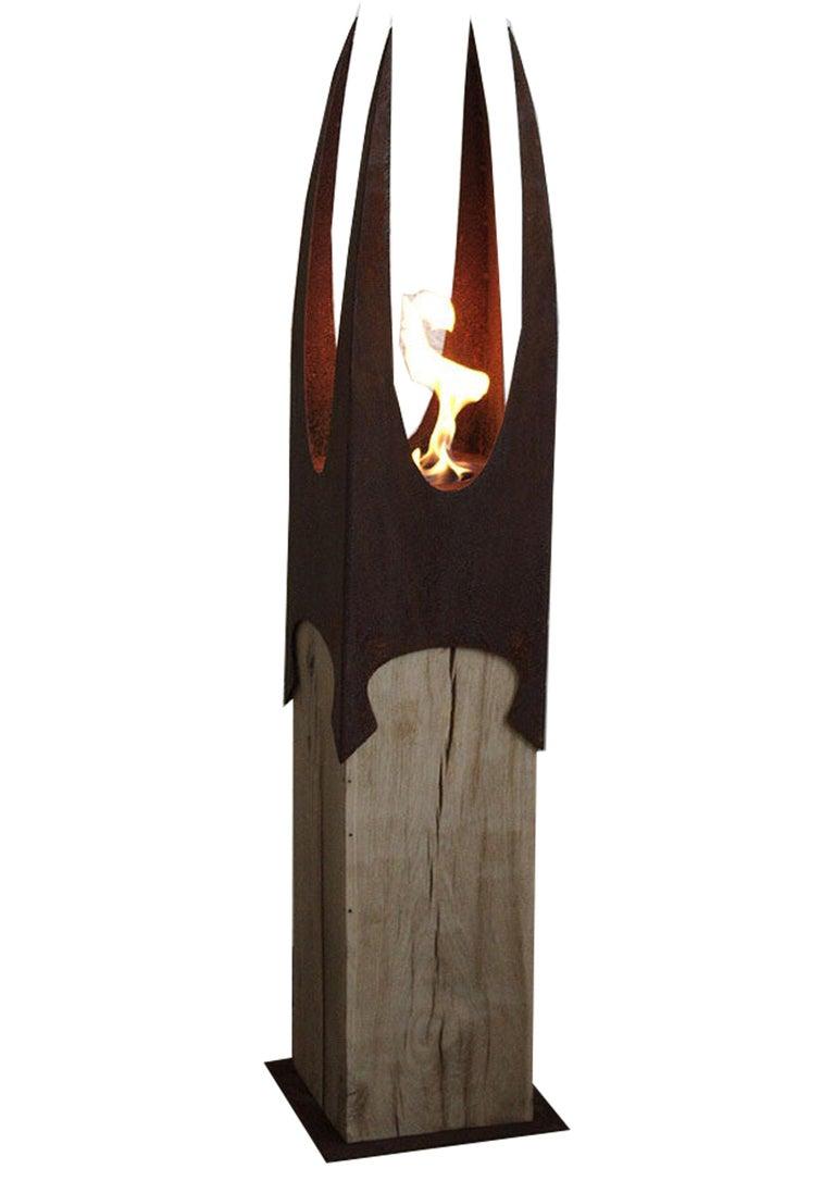 "Garden Torch - ""Nature Crown"" on a oak pedestal - unique handmade ornament - Mixed Media Art by Stefan Traloc"