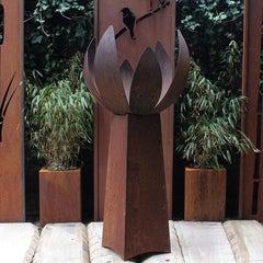 "German Steel Fireplace - ""Blossom II"" - outdoor ornament - medium conus base"