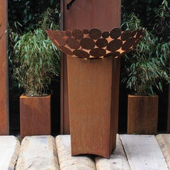 """German Steel Fireplace - """"Bowl I"""" - outdoor ornament - tall base 80 cm"""