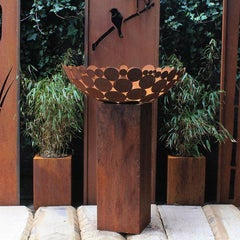 """German Steel Fireplace - """"Bowl II"""" - outdoor ornament - tall square base 80 cm"""
