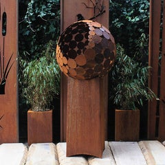 "German Steel Fireplace - ""Globe"" - outdoor ornament - tall base 80 cm"