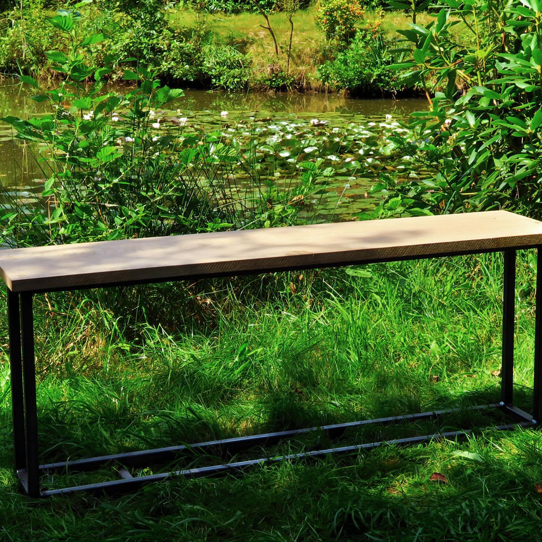 """German Steel - """"Firewood Bench"""" - outdoor ornament"""