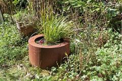 "German Steel Planter - ""Round"" - outdoor ornament"