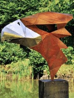 "German Steel Polygon Sculpture - ""Eagle"" on an oxidised oak pedestal - handmade"