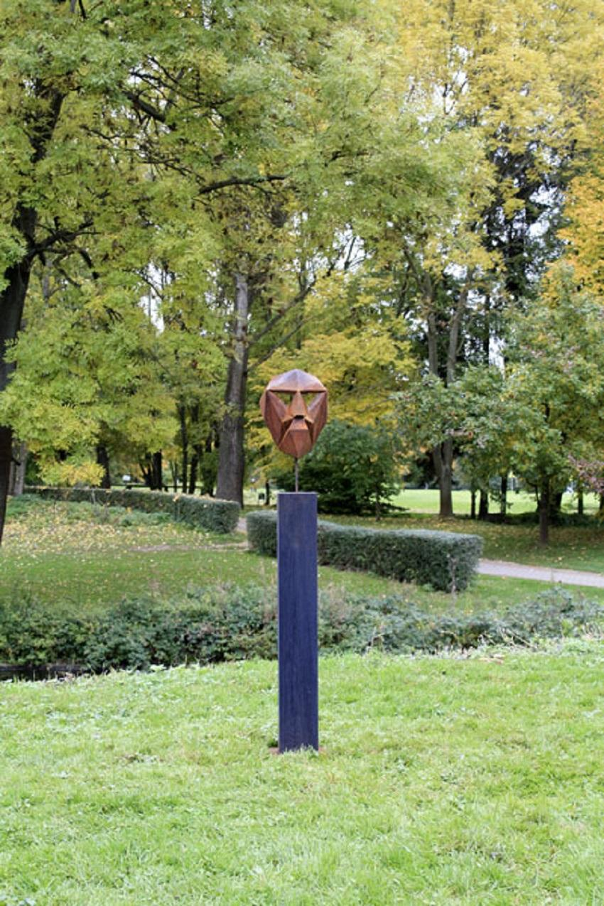 "German Steel Polygon Sculpture - ""Mask II"" on an oxidised oak pedestal handmade"