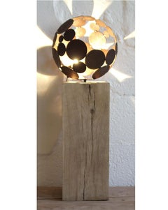 """Indoor Lamp - """"Ball """",on oak stand - iron oxide"""