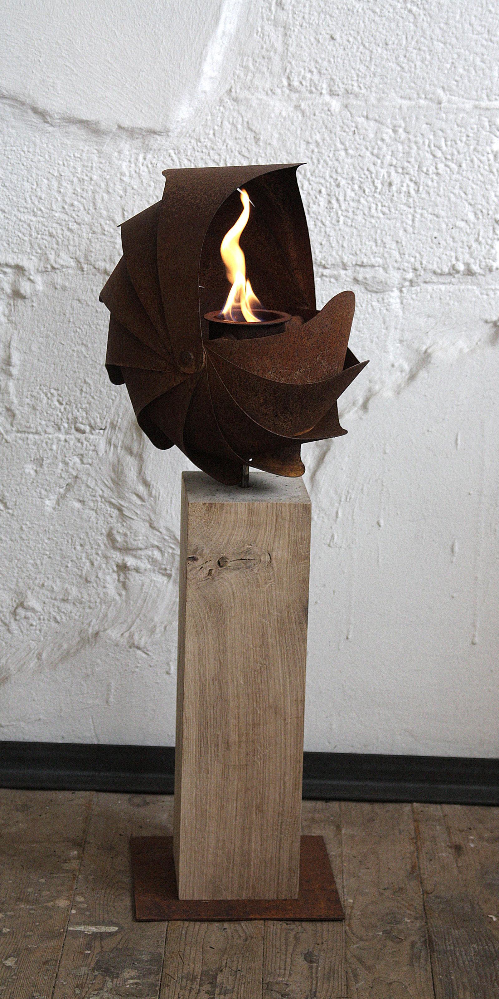 """Oak Column and Garden Torch - """"Ammon"""" - handmade - small"""