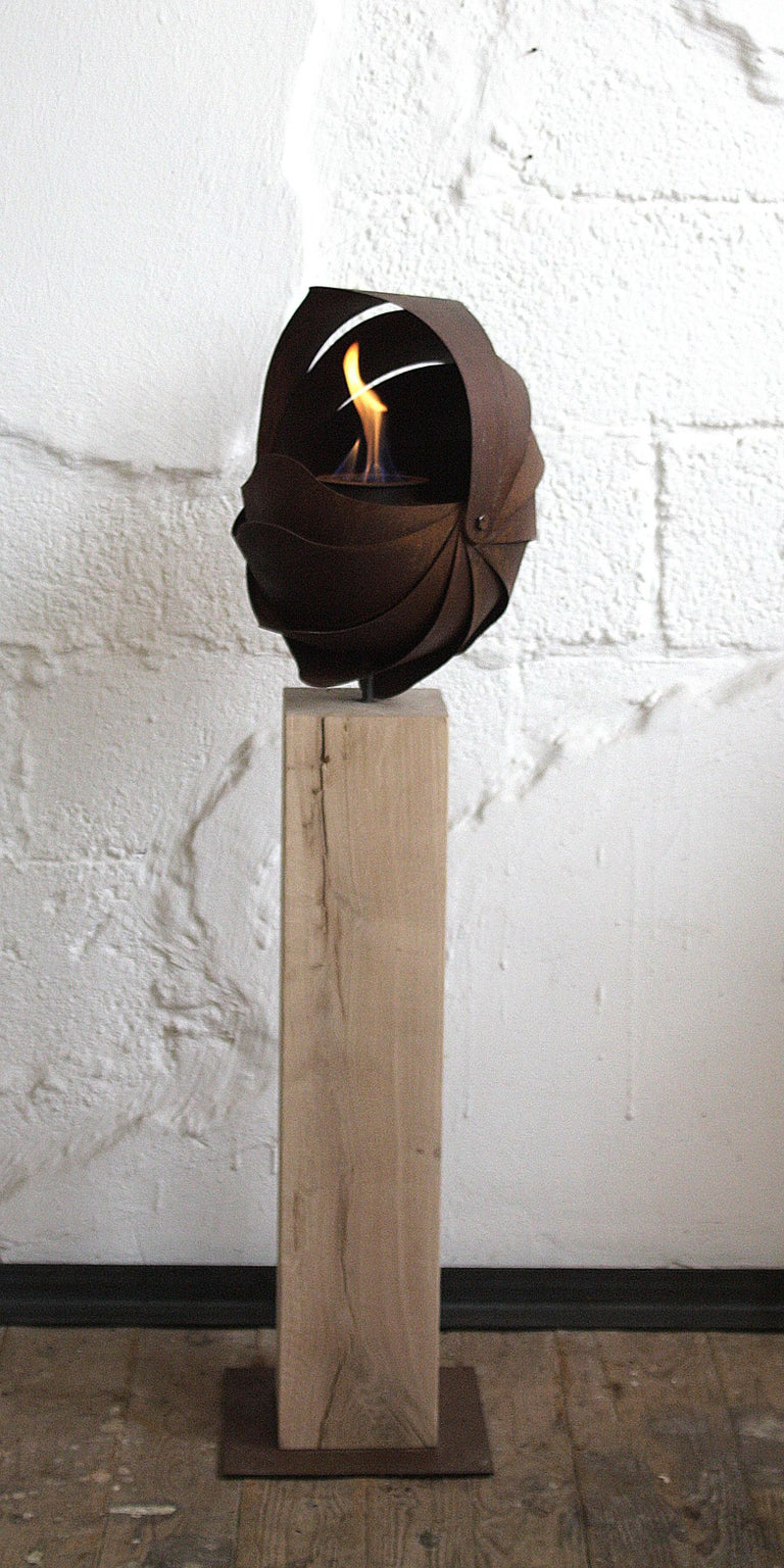 Oak Column and Garden Torch -