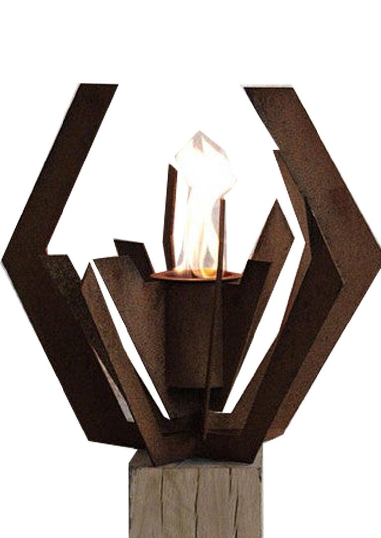 Oak Column and Garden Torch -