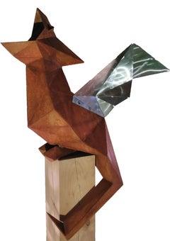 "Oudoor Sculpture - ""Dragon"" on an natural oak pedestal - unique ornament"