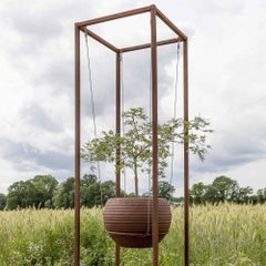 """Outdoor Cuboid for floating pots - """"Cuboid Small"""" - unique garden ornament"""