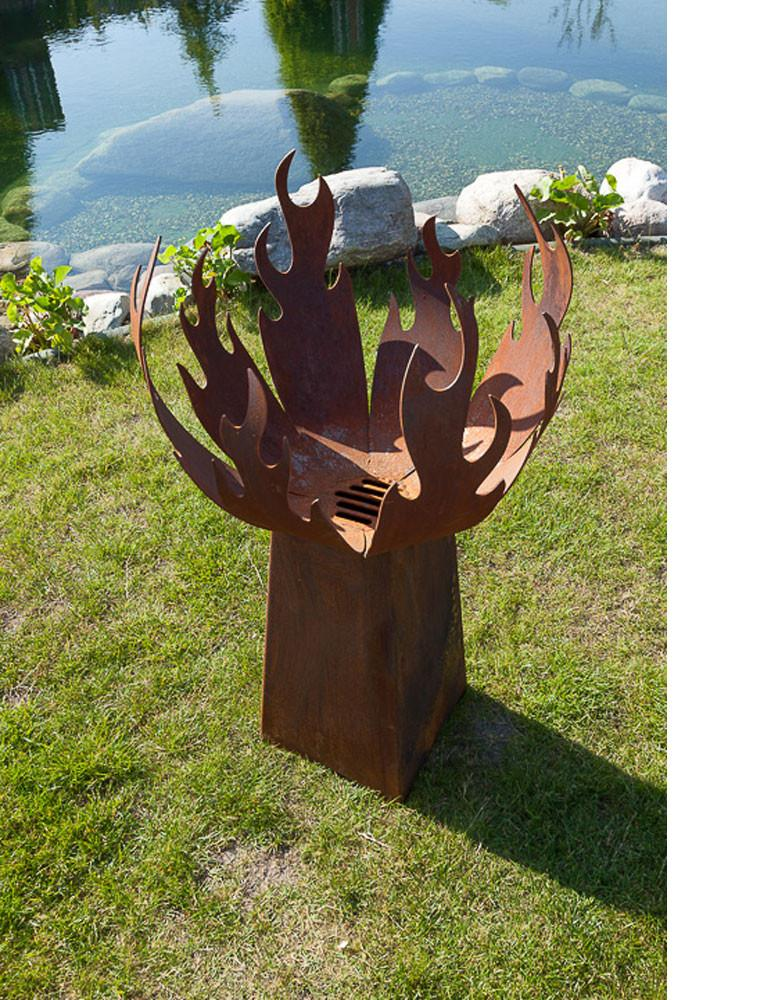 """Outdoor Fire Pit - """"Flame"""" - with angled pedestal - medium height - Art by Stefan Traloc"""
