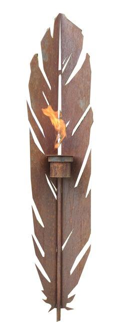 "Outdoor Garden Torch - ""Feather"" - unique ornament"