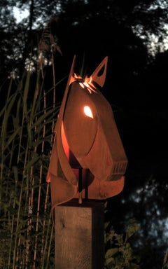 "Outdoor Garden Torch - ""Horse"" on a oak pedestal - unique ornament"