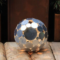 "Outdoor Lamp - ""Globe"" galvanised - contemporary garden ornament - set of three"