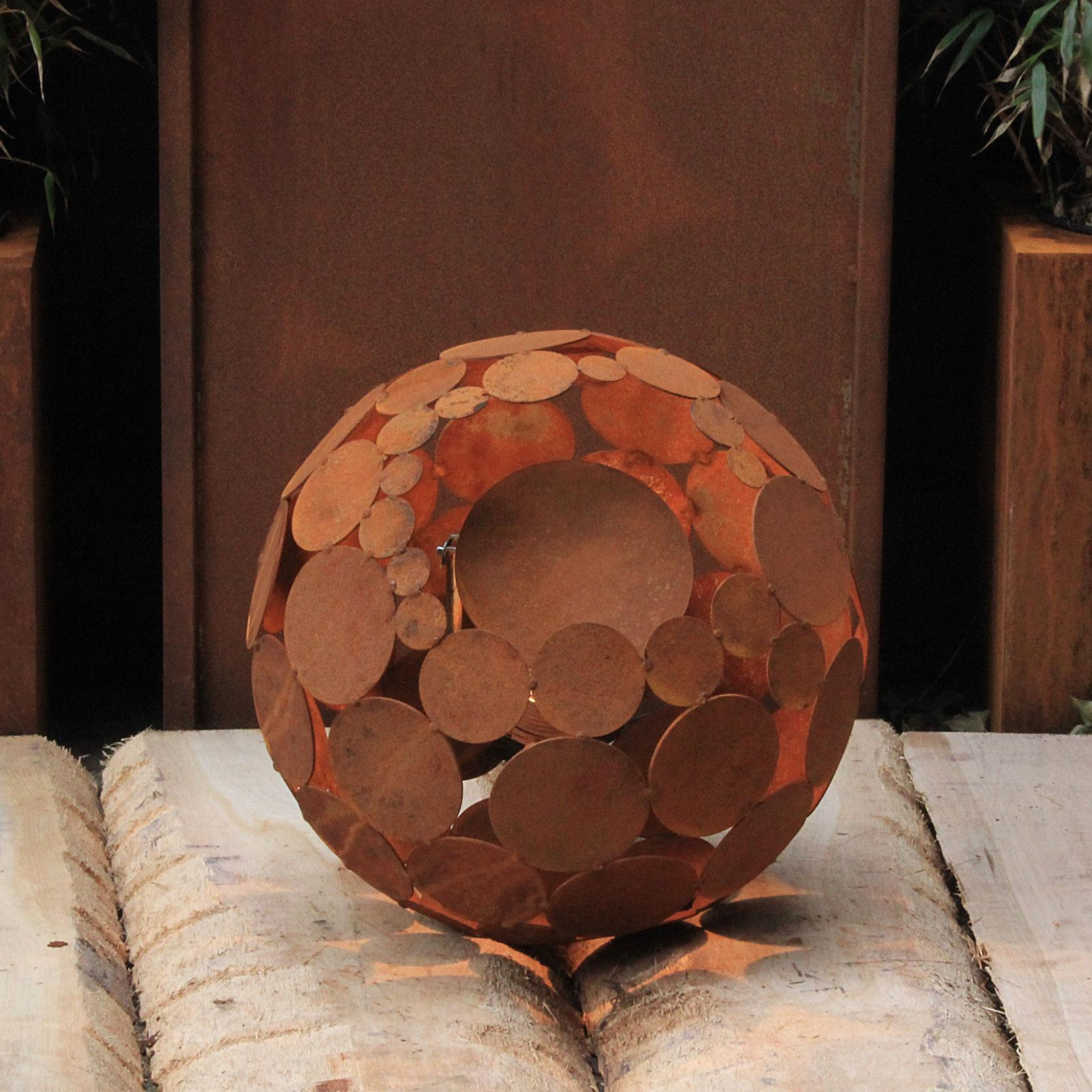 "Outdoor Lamp - ""Globe"" - iron oxide - art decoration"