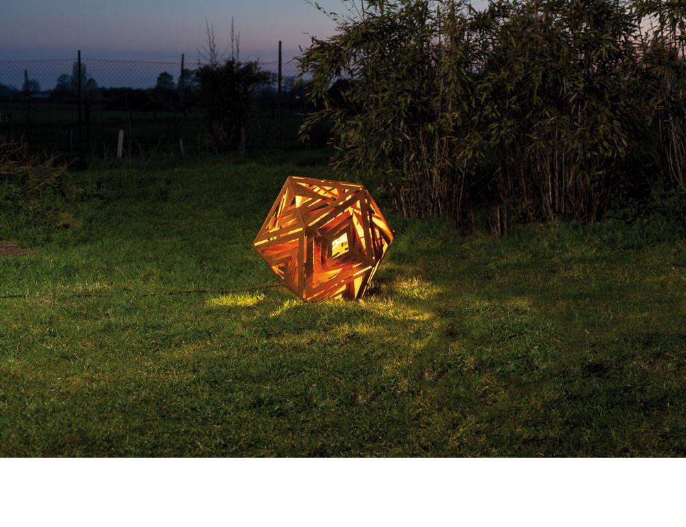 "Outdoor Lamp - ""Icosaeder"" iron oxide - art garden decoration - 55cm"