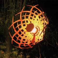 """Outdoor Lamp - """"Umbrella"""" - unique rusty ornament"""