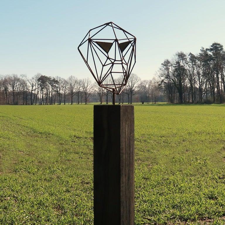 Outdoor Wire Sculpture - Wire Mask on a oxidised oak pedestal - unique ornament - Art Deco Mixed Media Art by Stefan Traloc