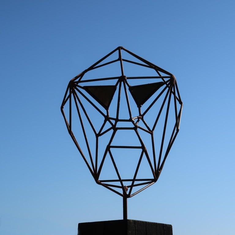 Outdoor Wire Sculpture - Wire Mask on a oxidised oak pedestal - unique ornament For Sale 1
