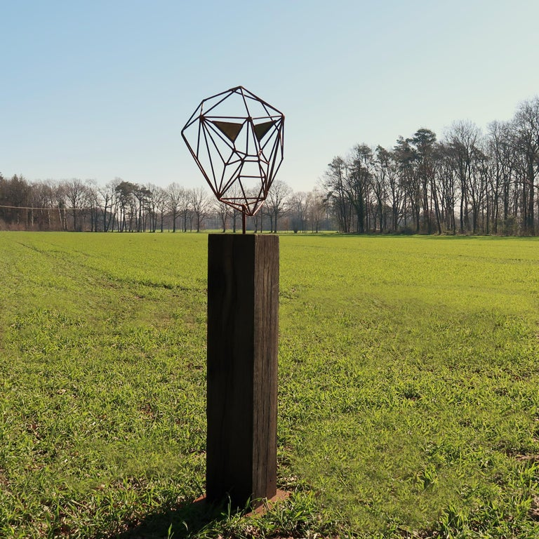 Outdoor Wire Sculpture - Wire Mask on a oxidised oak pedestal - unique ornament - Mixed Media Art by Stefan Traloc