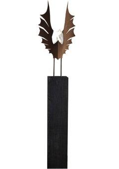 """Oak Column and Garden Torch - """"Wings"""" dark oxidated - handmade art object"""