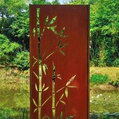 """Steel Garden Wall - """"Bamboo"""" - Modern Outdoor Ornament - 75 × 195 cm -"""
