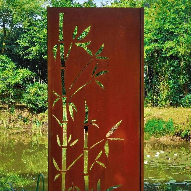 """Steel Garden Wall - """"Bamboo"""" - Modern Outdoor Ornament - 75 × 195 cm - - Sculpture by Stefan Traloc"""