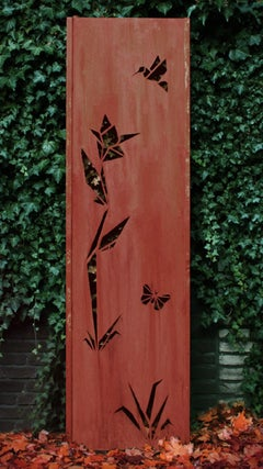 "Steel Garden Wall - ""Origami"" - Modern Outdoor Ornament - 54 × 195 cm"