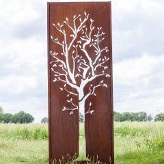 "Steel Garden Wall - ""Tree"" - 75×195 cm - Modern Outdoor Ornament"