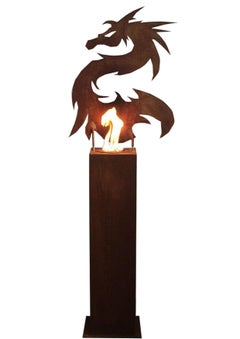 "Steel Column and Garden Torch - ""Dragon"" - handmade art object decoration"