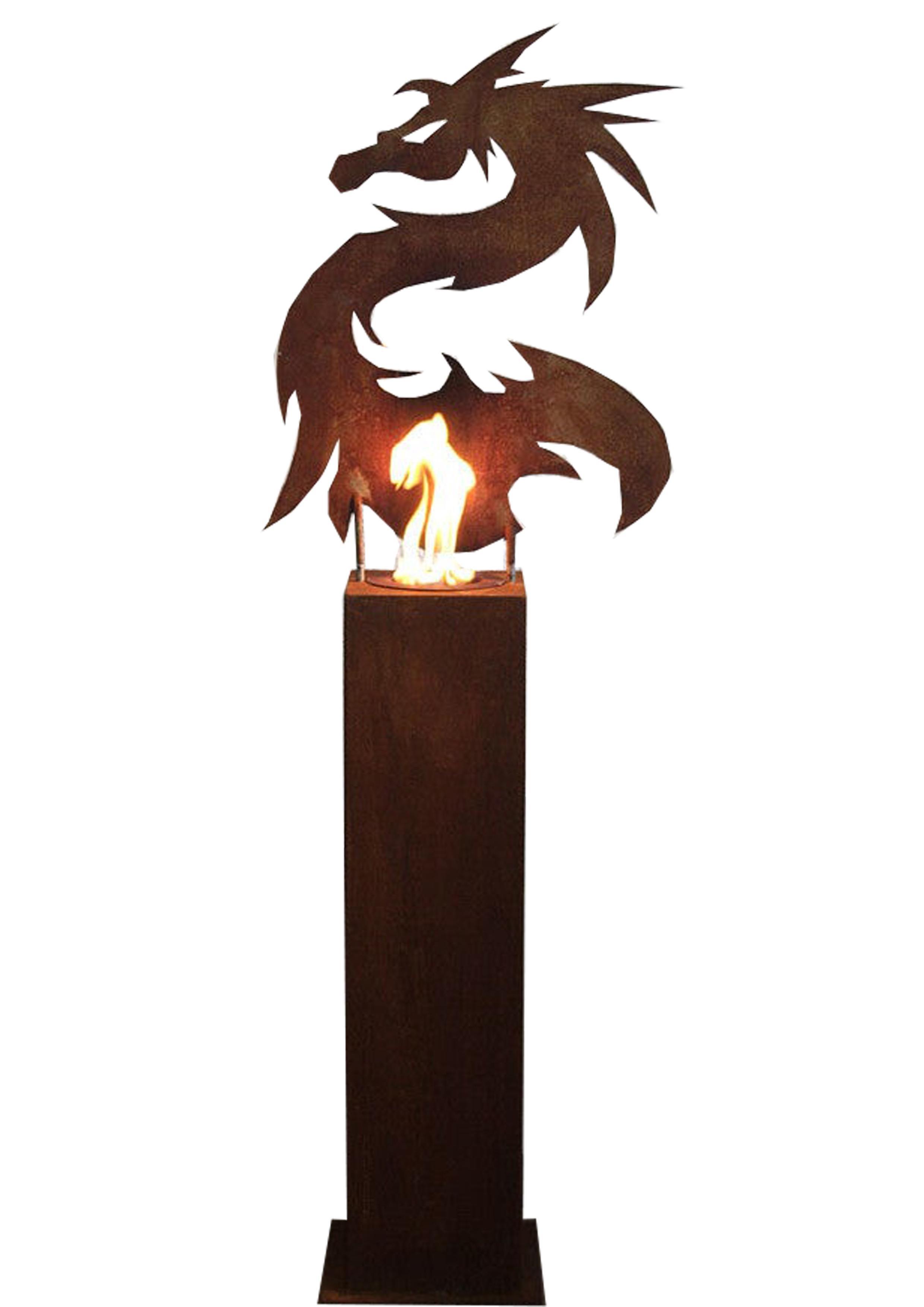 "Steel Column and Garden Torch ""Dragon"" Handmade unique art object decoration"