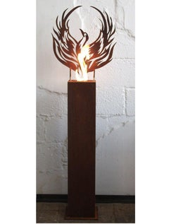 "Steel Column and Garden Torch - ""Phoenix"" - handmade unique art object"