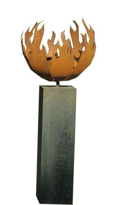Steel Flame Pit middle-sized Contemporary Garden Ornament on Oak Shelf