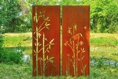 """Steel Garden Wall - """"Diptych Bamboo"""" - Modern Outdoor Ornament - 150 x 195 cm"""