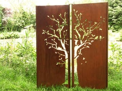 "Steel Garden Wall - ""Diptych Tree"" - Modern Outdoor Ornament - 150 x 195 cm"