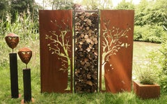 "Steel Garden Wall - ""Diptych Tree with Firewood Rack"" - Outdoor Art - 205×195 cm"