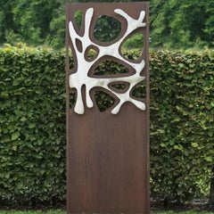"Steel Garden Wall - ""Stainless Steel I"" - modern outdoor ornament - 75×195 cm"