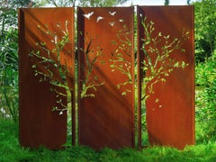 "Steel Garden Wall - ""Triptych Tree"" - Modern Outdoor Ornament - 225 x 195 cm"