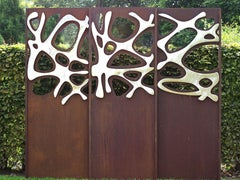"Steel Garden Wall - ""Triptychon Stainless Steel"" - outdoor ornament - 225×195 cm"