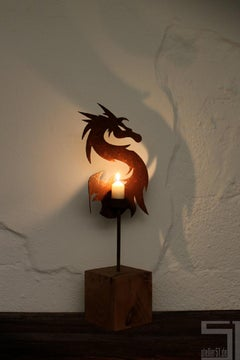 "Unique Candle Holder - ""Dragon"" on a natural oak pedestal - Small Height"